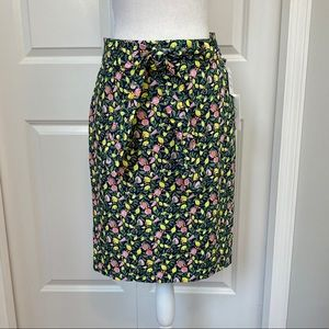 1901 Petite Blue/Green Fruit Pattern Pencil Skirt